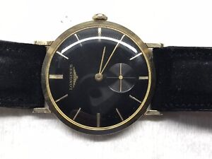 Vintage Longines Manual Wind 10k Gold Filled Mens Dress Watch, Thin, Black Face