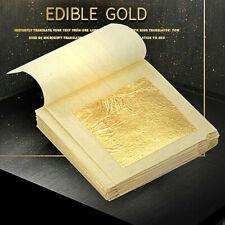 "10 Sheets 1.7"" 24K Gold Foil Leaf 100% Food Anti-Aging Facial Spa Craft Gilding"