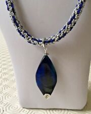 "A Dyed Agate Pendant on Silver & Blue Kumihimo 23"" Cord with Magnetic Clasp"