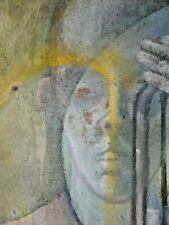 Ancien tableau composition mixte abstraite Surréaliste signé Brunet