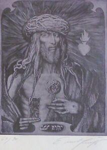 "PROF.ERNST FUCHS (1930-2015) ""Christ King"" HAND SIGNED 1975 AUSTRIAN ARTIST"