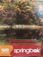 Springbok Jigsaw Puzzle 500 pc Autumn Cove Fall Color Boat on Lake