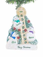 Christmas Ornament Snowmen family of 3 personalized with your names free (F92)