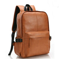 New Fashion Mens Soft Leather School Backpack Laptop Notebook Travel Bag