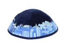 JEWISH VELVET KIPPAH WITH EMBROIDERED JERUSALEM VIEW - yamaka yarmulke