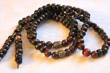 COLLIER ou BRACELET MALA yoga zen avec 108 perles bois et obsidienne 8 mm