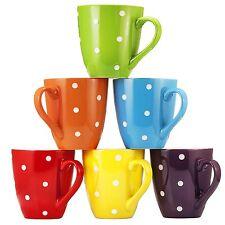 Polka Dot Coffee Cups Mugs Set of 6 Large sized 16 Ounce Ceramic Coffee Mug Set
