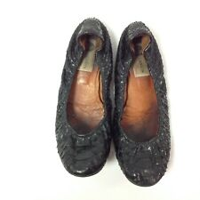 Lanvin Python Leather Ballet Flats Shoes Size 8 Black Snakeskin Scaly