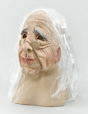 Ladies Old Woman Mask with Hair + Glasses Realistic ladies Fancy Dress Accessory