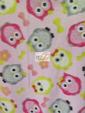 "ANIMAL PRINT POLAR FLEECE FABRIC - Puffy Owls Baby Pink - 60"" SOLD BTY 907"