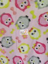 "ANIMAL PRINT POLAR FLEECE FABRIC - Puffy Owls Baby Pink - 60"" SOLD BTY 907"