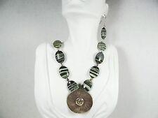 DESIGNER OOAK Karen Hill Tribe Sterling Silver Pendant Zebra Jasper Beads Set
