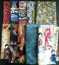 Quilting Fabric, Japanese Design Assortment, Various Sizes, 10 Yards Total