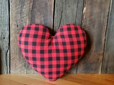 Valentines Heart Pillow Black And Red Buffalo Plaid / Valentine's Day Decor