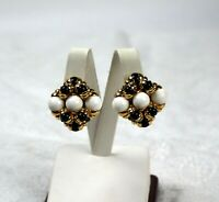 Vintage Blue White Bead Gold Tone Clip On Earrings 1980s
