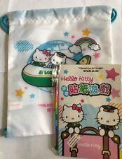 Hello Kitty Sanrio Eva Air Japan Exclusive New Sticker Puzzle Drawstring Bag