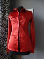 Camicetta DENNY ROSE rossa rosso lucido raso S blusa camicia blouse shirt red