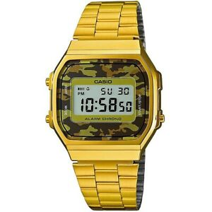 Casio Uhr A168WEGC-5EF Retro Digital Armbanduhr Herren Gold Camouflage NEU & OVP