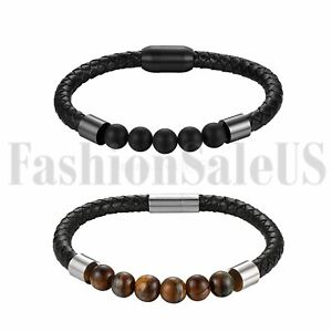 Mens Womens Mala Beads Magnetic Clasp Leather Handmade Wristband Bangle Bracelet