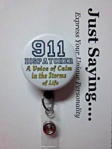 911 Dispatcher A VOICE of Calm.. Black/Gold ~ Retractable Reel ID Badge