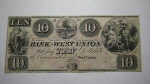 $10 1858 West Union Ohio OH Obsolete Currency Bank Note Bill! Bank of West Union