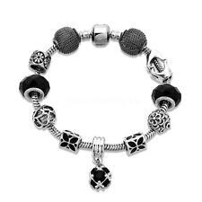Womens European Charm Bracelet Enamel Black Butterfly Hand Heart Wrist Bangle