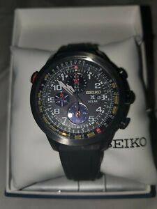 Seiko Prospex Solar SSC371 Black Silicone Band Men's Watch Very Rare, Pre Owned