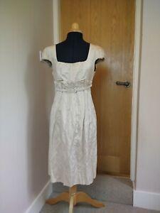 Maxmara Gold Dress Size 10 VGC Crinkle Effect Paperbag Skirt Puff Sleeve Knee