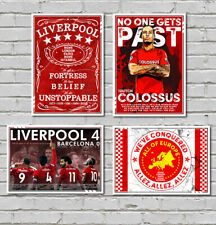 Liverpool Champions European posters A4 x4 Europe Pub Style Virgil v Barcelona