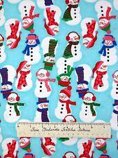 """FLANNEL Fabric - Christmas Nursery Snowman Toss Blue AE Nathan 34"""""""