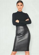 Ladies Meghan Markle Celeb Polo High Neck Faux Leather Panel Bodycon Dress