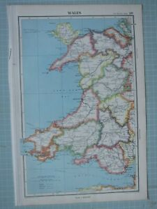 1943 MAP WALES ~ CARMARTHEN PEMBROKE GLAMORGAN CARDIGAN MONTGOMERY ANGLESEY