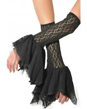 Grim Gauntlets Sexy Lace Bell Sleeve Ruffle Gothic Glove Adult Costume Accessory