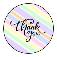 Thank You Stickers Pastel Pink Blue Business Company Label Seals