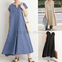 ZANZEA Women Short Sleeve Cotton Casual Summer Dress Solid Baggy Long Dress Plus
