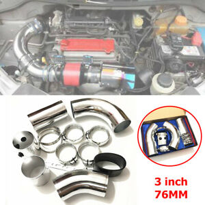3 inch 76MM Car Cold Air Intake Tube Injection Pipe Aluminum Filter Kit Plating