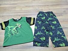 Carter's Boys Size 3T Pajama Set Dinosaur Adventure Green Top Pants