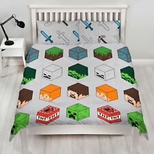Minecraft Pixels Boys Bedroom  Double Duvet Set Characters Building Blocks