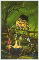 """KIRSCHT Halloween """"GHOST STORIES"""" Signed SHIVERBONES 21/70 CAT JOL Postcard C21"""