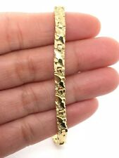 "Men's Solid 14K Yellow Gold Nugget Bracelet 8.25""- 8.75"" 4.75mm 10.8 grams"