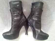 "Vera Wang Lavender ""Fiona"" Black Leather High Heel Platform Boot,sz. 7.5 M"