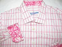 Robert Graham Boys XL 18-20 Casual Shirt Pink Checks Flip Cuff L/S Button Up