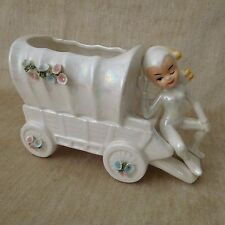 Lefton Iridescent Luster ware Pixie Elf Fairy Planter Vase Floral Trim Wagon