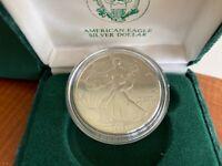 1989 American Eagle Silver Dollar Coin  Decorative Box & COA US Mint