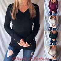 Women's Basic V-Neck Thin Knit Long Sleeve Fall Sweater Top With Button Detail
