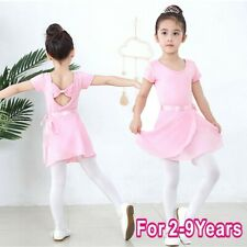 Kids Girls 2PCS Ballet Dance Outfit Tutu Dress Gymnastics Leotard+Chiffon Skirt