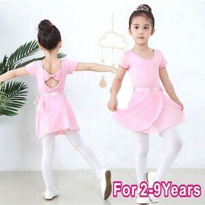 Kids Girls 2PCS Ballet Dance Outfit Tutu Dress Gymnastics Leotard+Chiffon Skirt