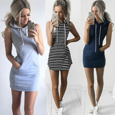 Women Fashion Drawstring Hooded Sleeveless Dress Pocket Casual Sport Mini Dress