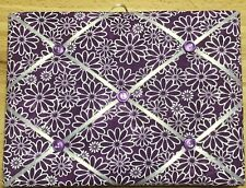 French Bulletin Board Photo Memo Purple White Floral Daisy Print 7.1 x 9.4 inch