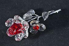 Ponte rouge cristal & métal Tige Rose Ornement Cadeau Fleur-New in Box